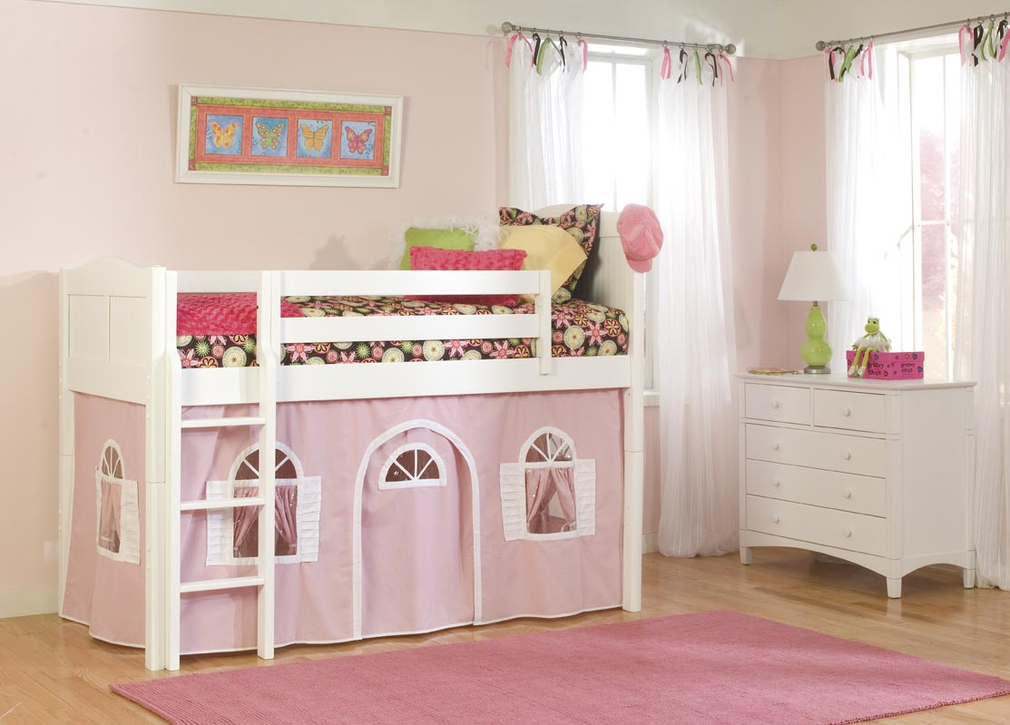 Girl Bunk Beds with White Furniture