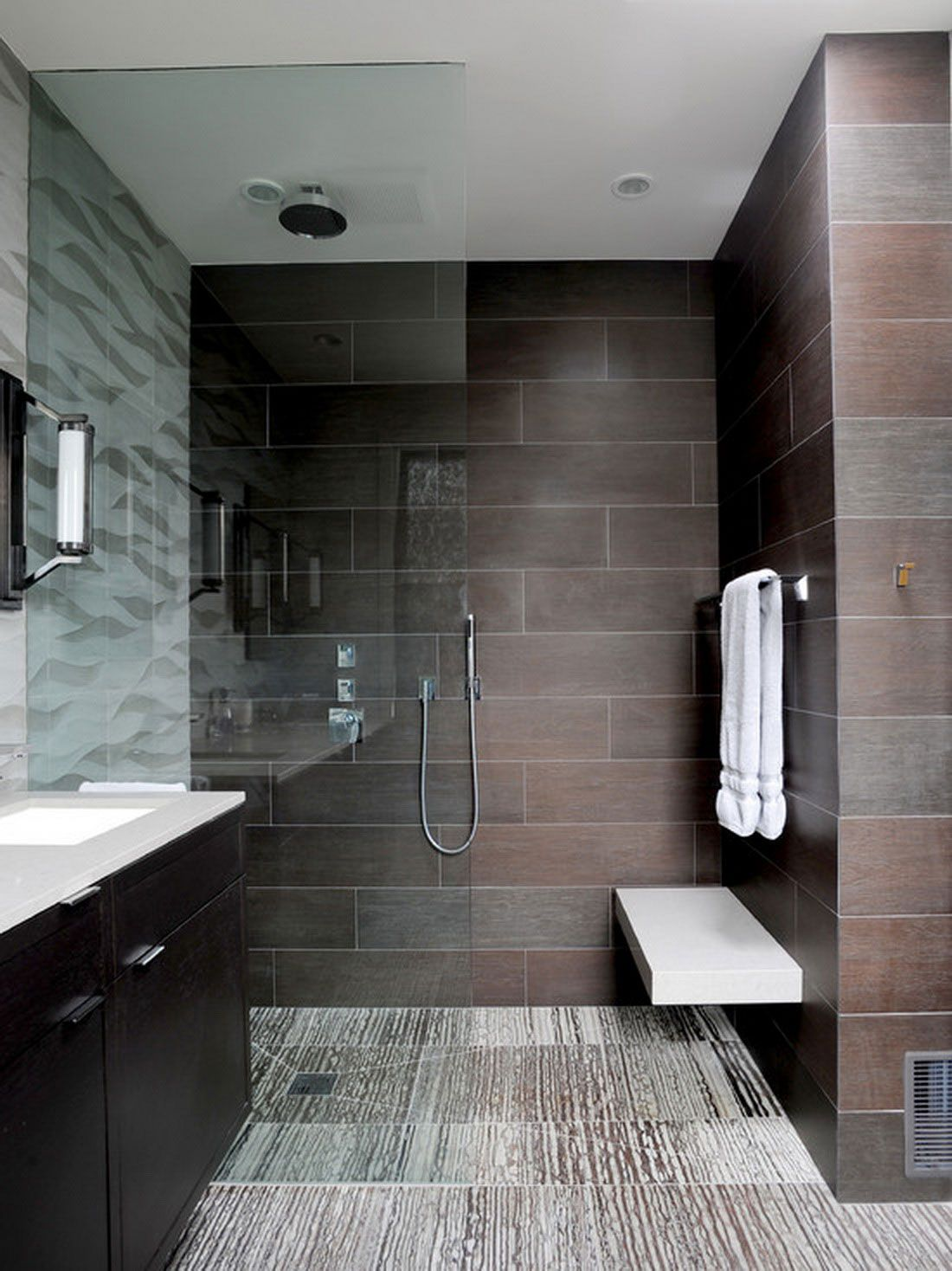 Glass Panel for Stylish Walk in Shower Ideas inside Cozy Bathroom with Black Vanity and White Sink