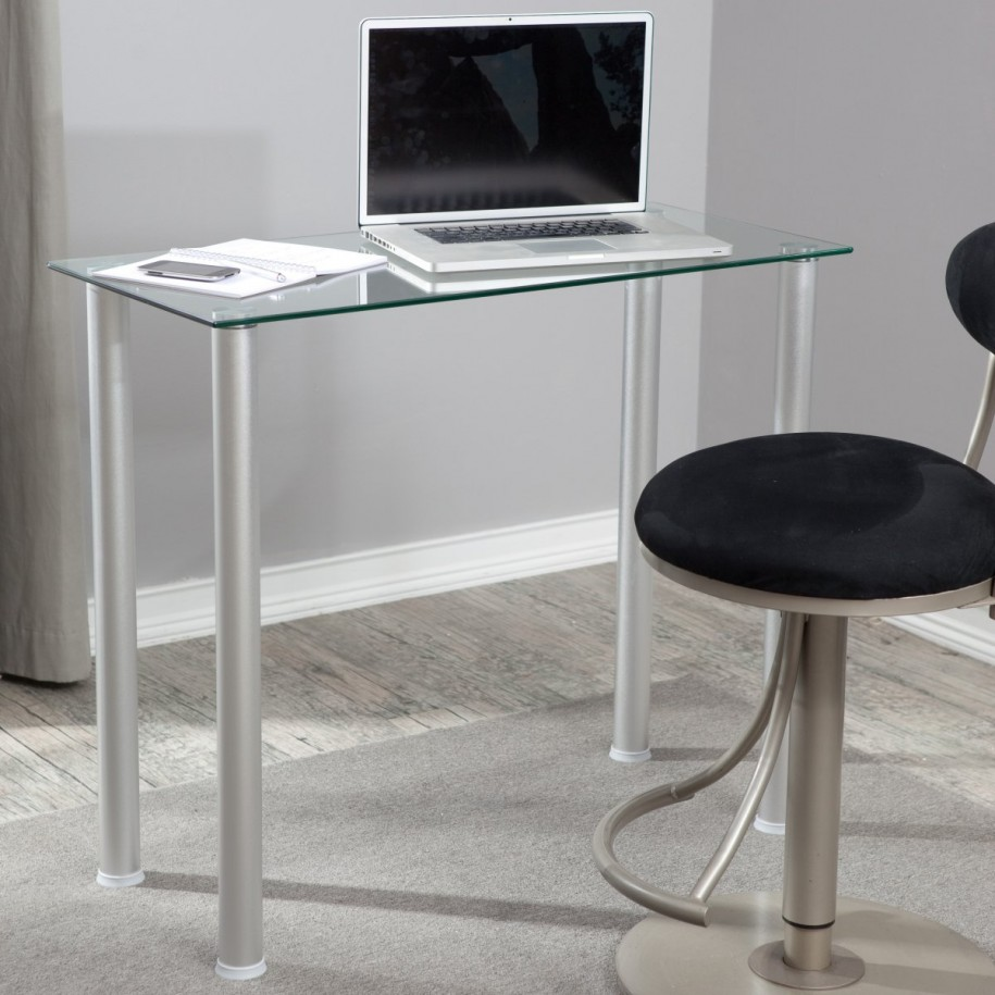 Glass Top Small Office Desk Placed in Simple Home Office with Round Swivel Chair on Grey Carpet