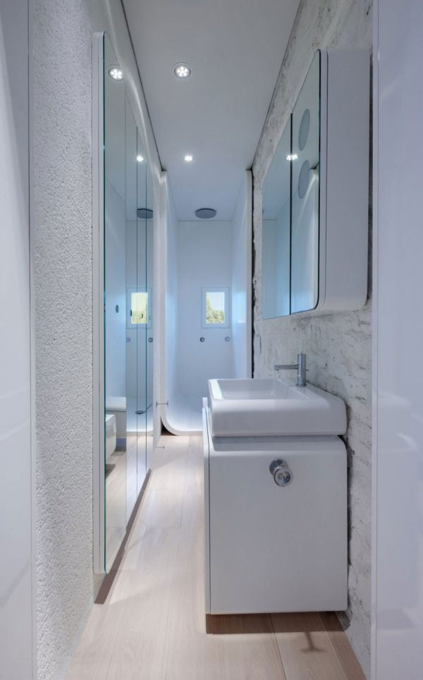 Superior Glossy Glass Material In Small Bathroom Layout With Cute Downlight And  White Vanity Amazing Ideas