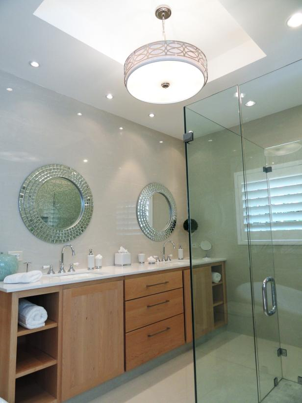 Glossy Glass Wall and Sleeky Wall Accent plus Chic Mirror