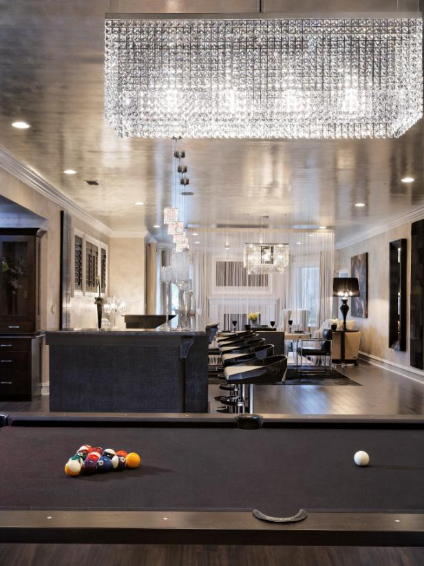 Gorgeous Billiard Table Beside Bar Table and Chairs under Chandelier
