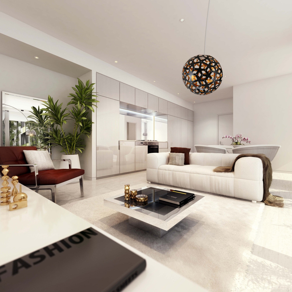 Gorgeous Family Room with White Sofa and Wide Coffee Table under Globe Pendant Light Shades