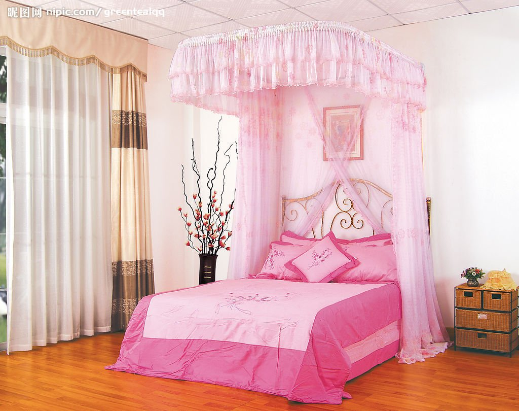 Gorgeous Pink Girls Canopy Bed Decorating Spacious Bedroom with Wicker Nightstand on Hardwood Flooring