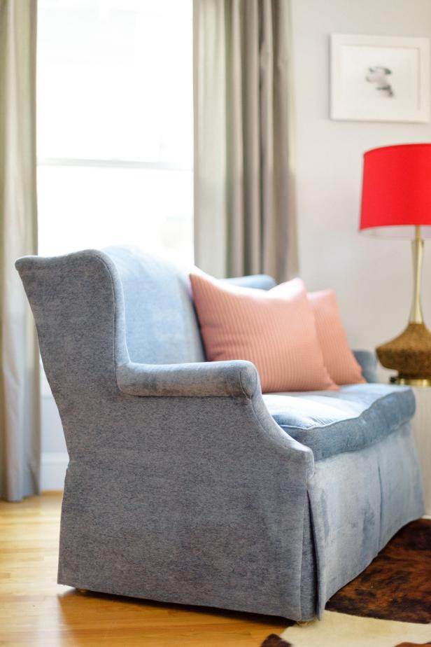 Graceful Design of Blue Apartment Size Sofa Using Chic Pillow