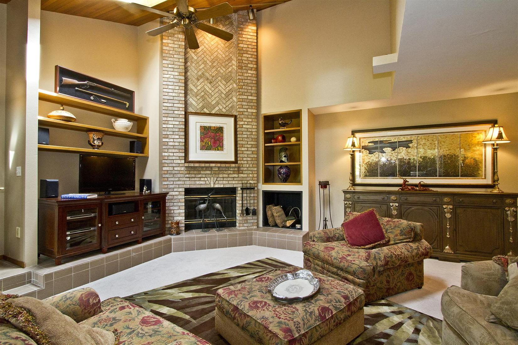 Graceful Flowery Sofa and Coffee Table also Corner Fireplace Mantel