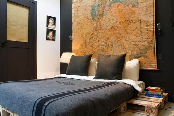 Graceful Interior Bedroom Using World Map Background For Bed Headboard