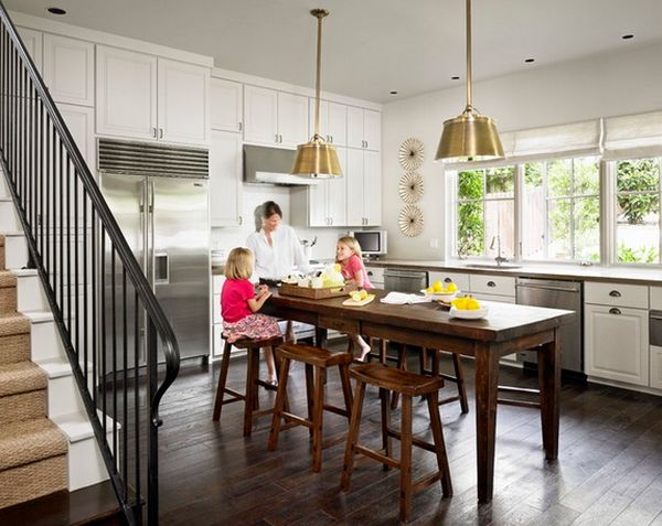Graceful Wooden Kitchen Tables aFor Small Spaces and Charming Chairs
