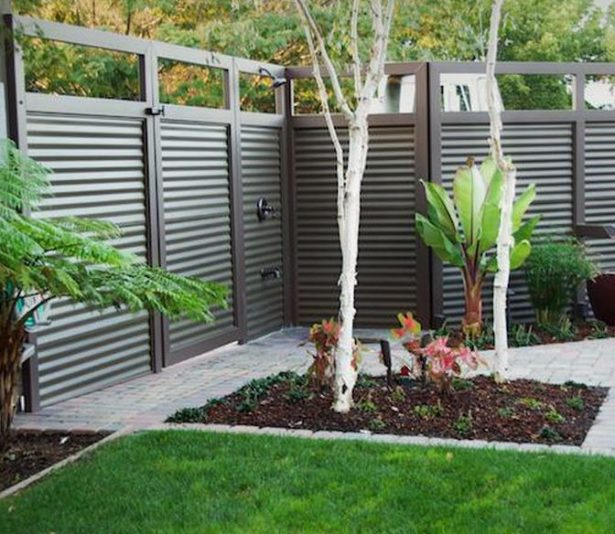 Grand Backyard Using Gray Fence also Trees and Plants