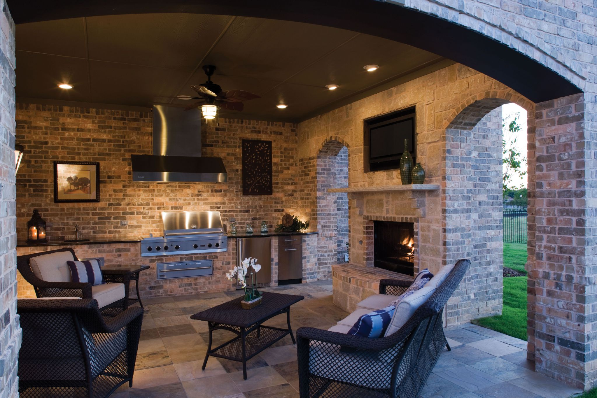 Grand Brick Wall Decor also Manufactre Fireplace For Rustic Living Room