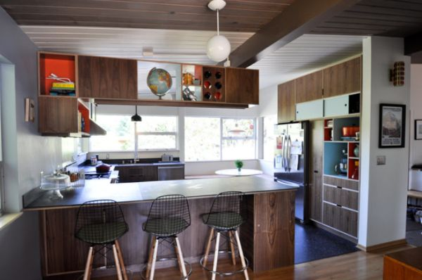 Grand Mid Century Modern Kitchen With U Shaped Cabinet and Chair