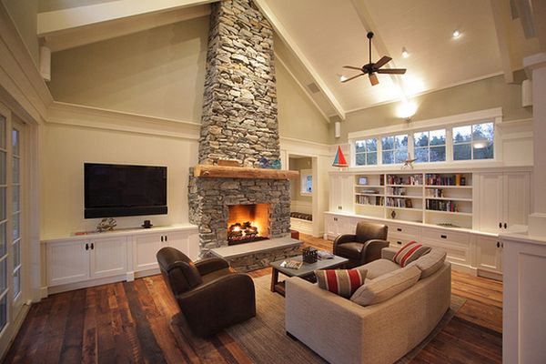 Great Furniture with Faux Stone Fireplace and Nice Wall Paint plus Glass Window