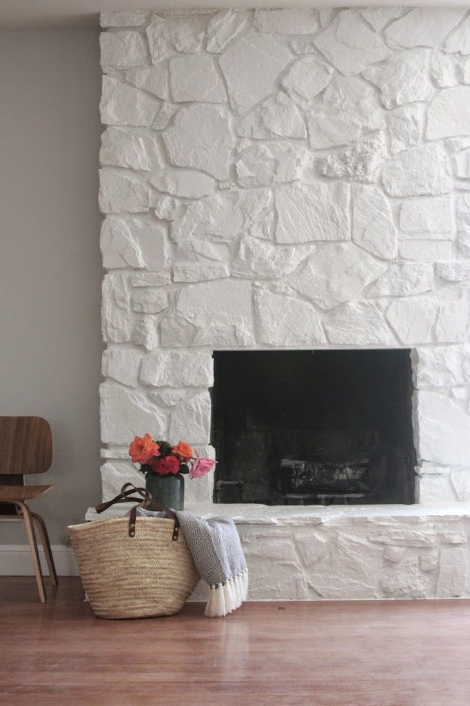 Great Picture Stone Fireplace Surround with Chalk Color Paint near Chic Wickerwork Bag