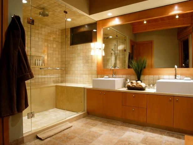 great wooden element and modern bathroom lighting with bright ammbience on large ceiling