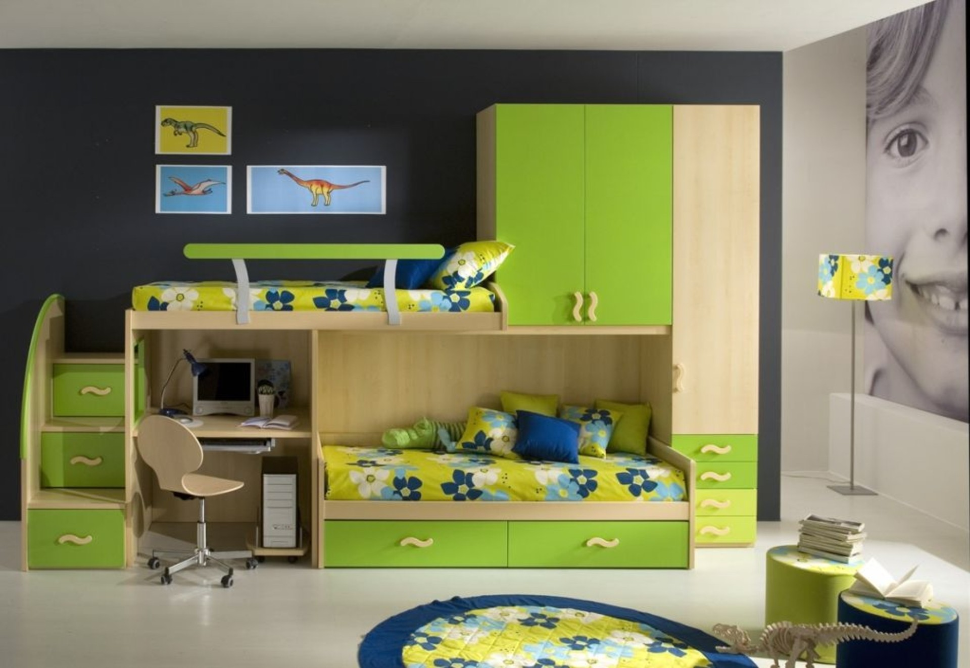 Green Bunk Beds with Storage and Flowery Bedding facing Round Carpet on Grey Concrete Flooring