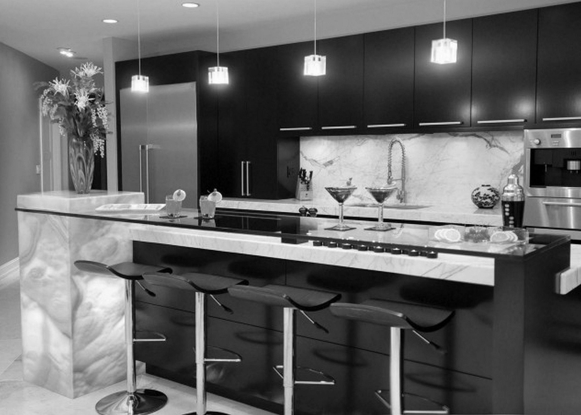 Grey Marble Top and Glass Bar Completing Dark Island in Sensational Black and White Kitchen