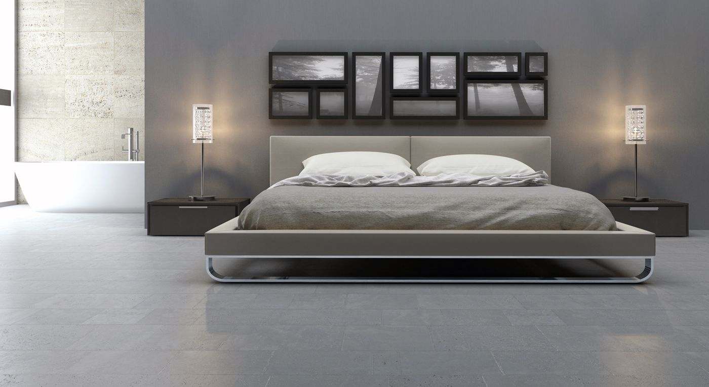 Grey Modern Bed Frames in Spacious Bedroom with Low Nightstands and Stylish Table Lamps