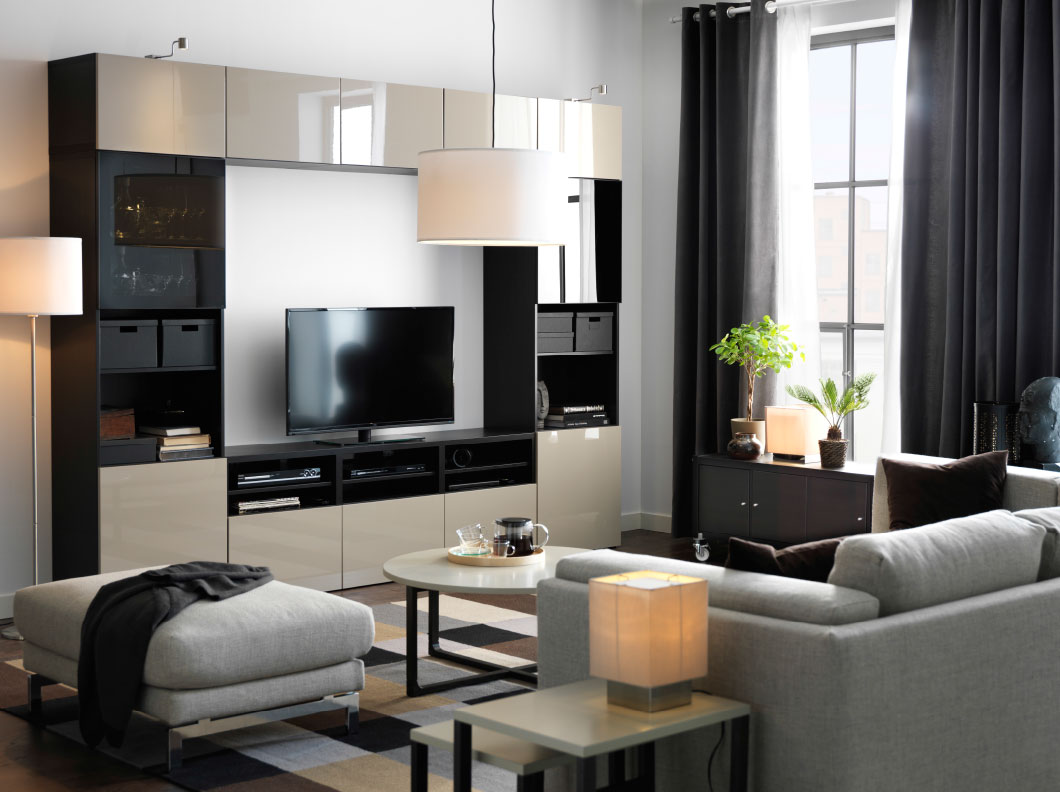 Grey Ottoman and Sofa facing Stunning TV Cabinet in Awesome Grey Living Room with Round Coffee Table