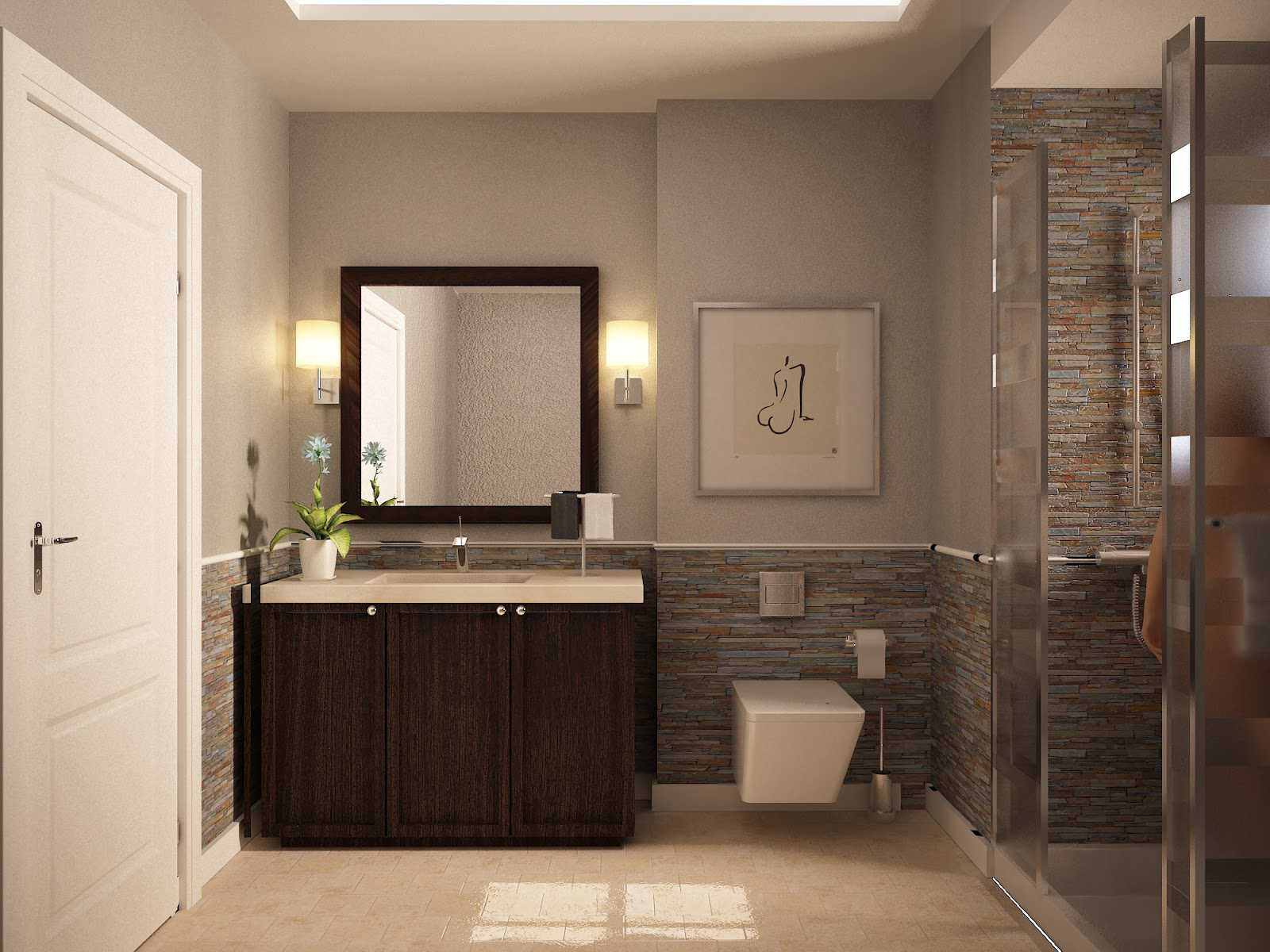 Grey Painted Wall and Stone Details Completing Appealing Bathroom Color Schemes near Oak Vanity