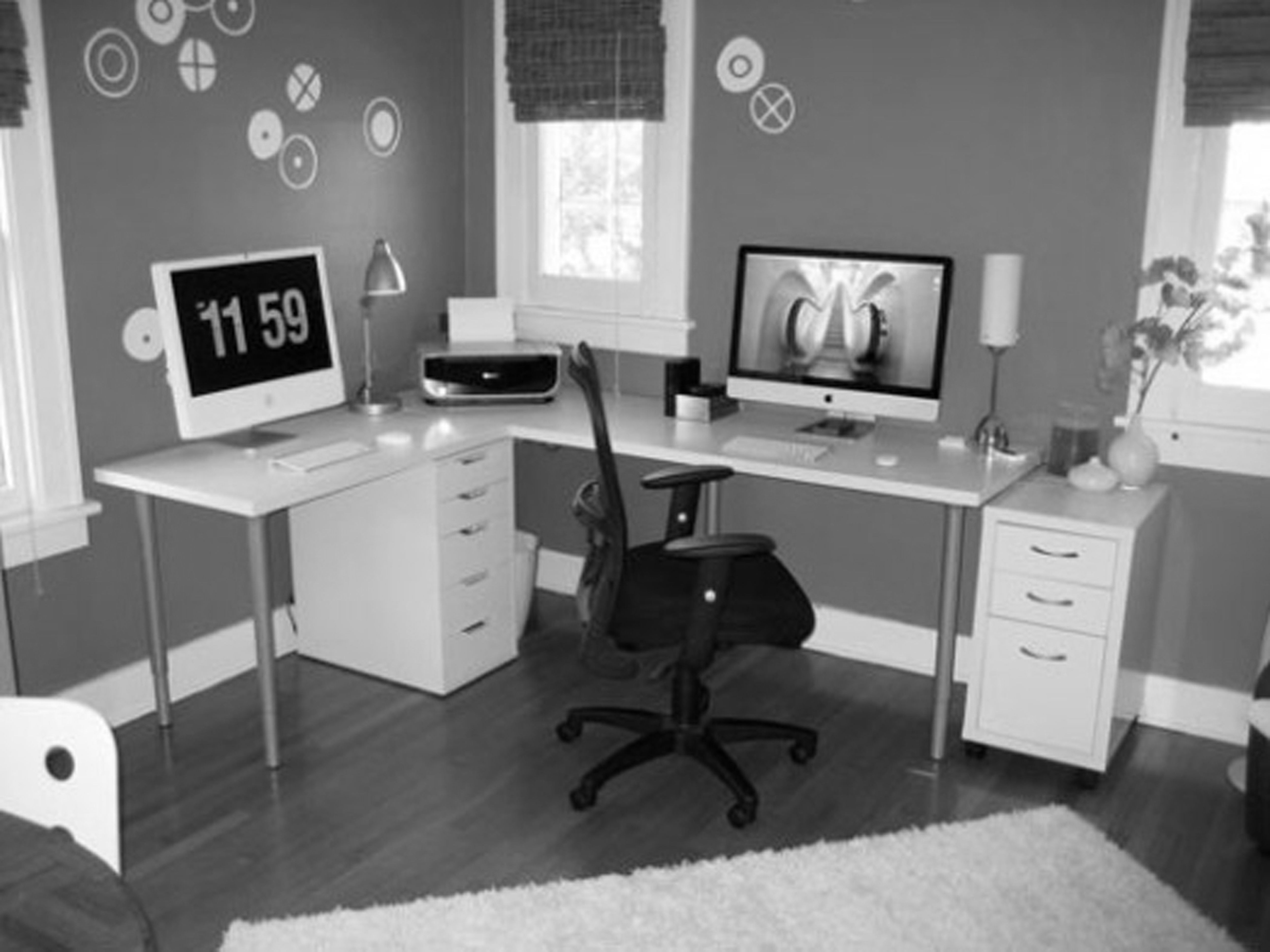 Grey Painted Wall and White Sectional Computer Desk Used in Stylish Office Decor Ideas