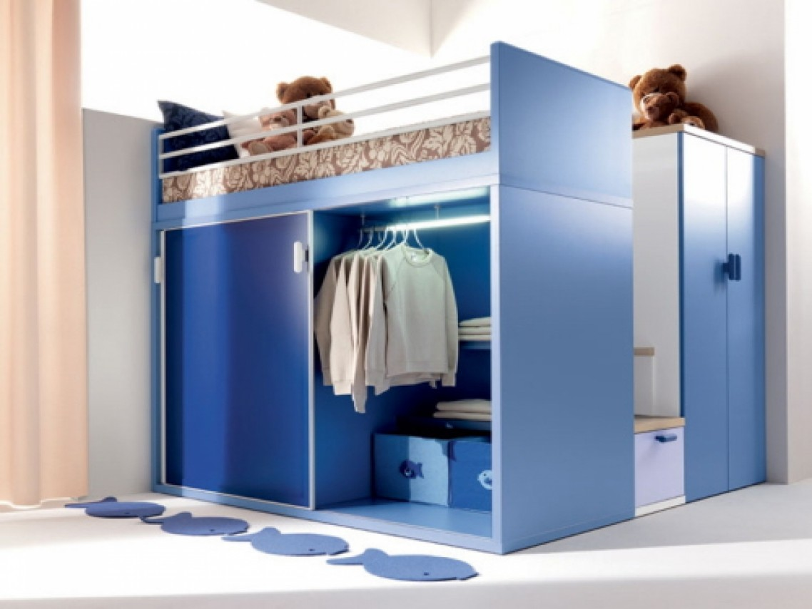 High Blue Wardrobe Cabinet and Clothes Hanger Completing Bunk Beds with Storage on White Flooring