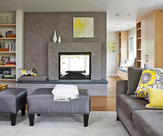 Horrible Interior Living Space Using Gray Bench and Sofa Decor