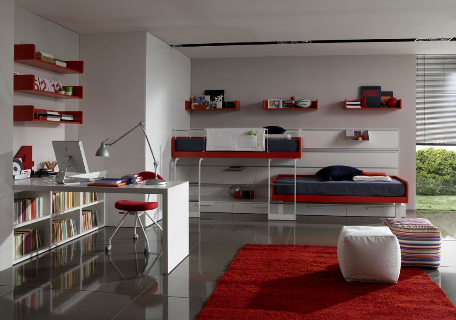 Hunky Interior Bedroom With Bunk Bed also Study Table Set