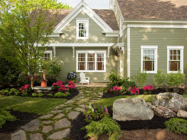 Hunky Stone Path also Rock and Trees For Front Yard Landscape Ideas