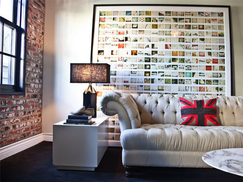 Impressive Ambience from Big Accessory on Large Wall and Great Sofa