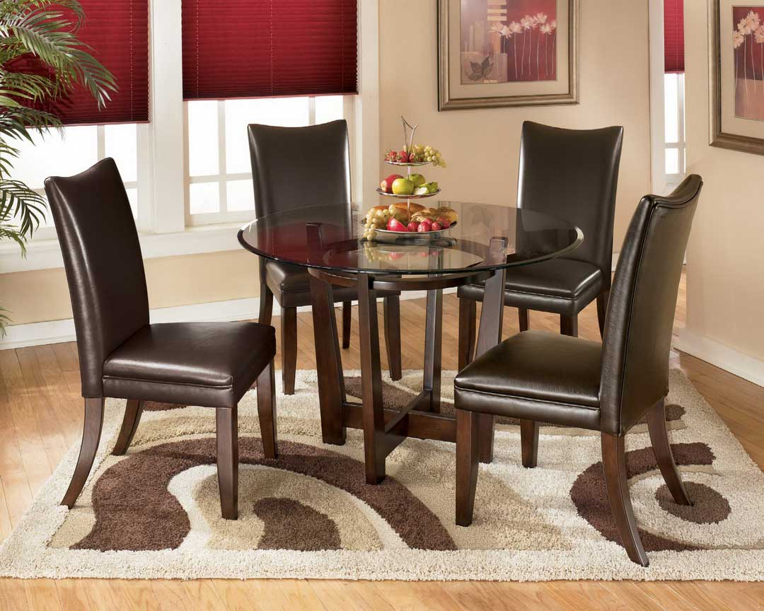 Impressive Dining Room Rugs Used in Small Dining Area with Leather Chairs and Round Glass Top Table