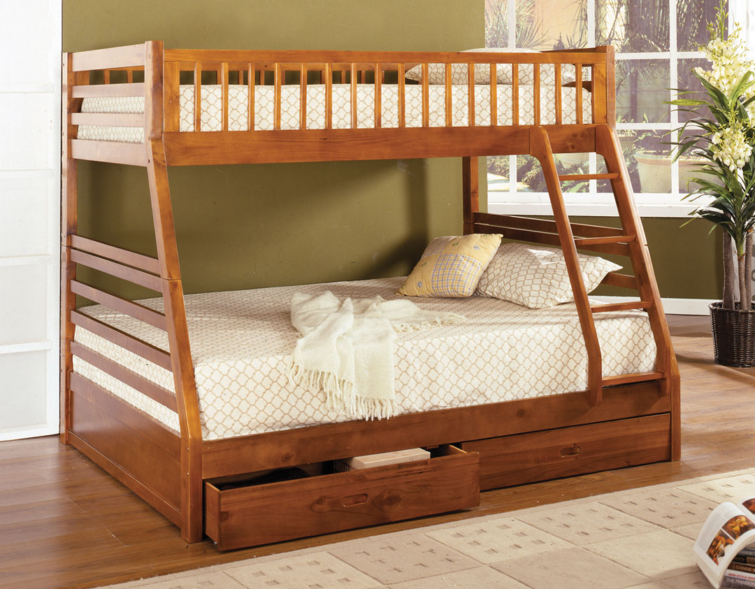 Impressive Interior for Kids Bedroom with Wooden Bunk Beds and Fluffy Bedding on Hardwood Flooring