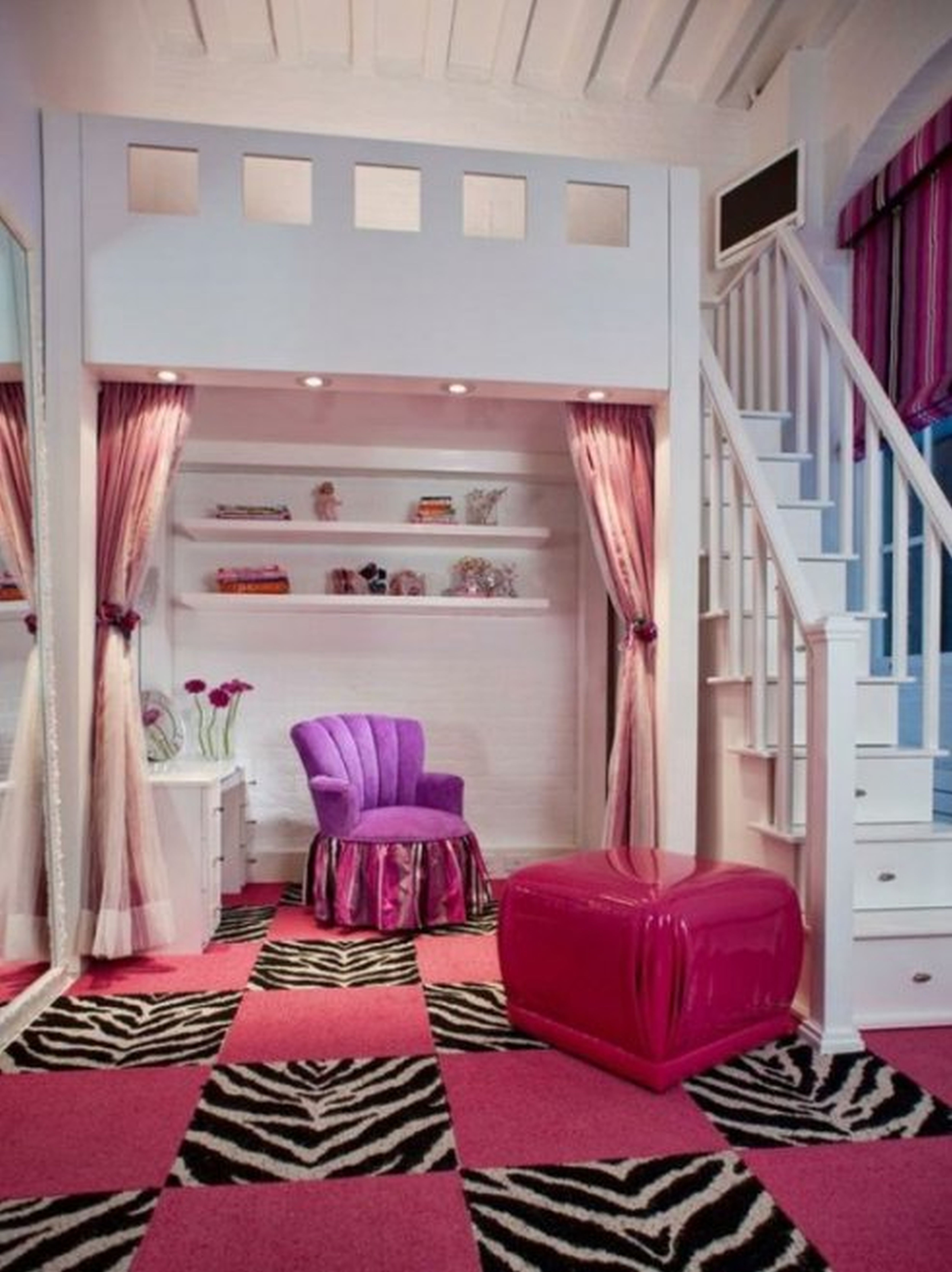 Impressive Loft Bed for Lovely Room Ideas for Teens with Pink Ottoman and White Dressing Table