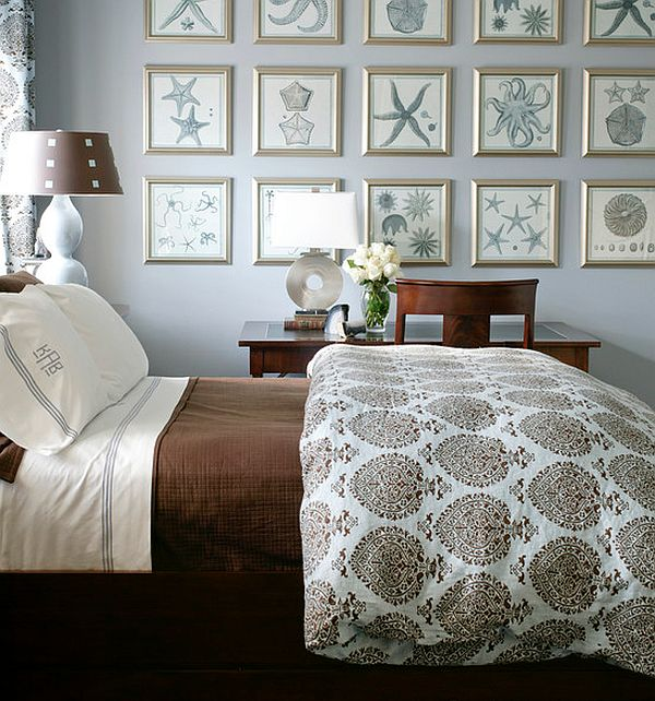 Impressive Sea Motive Accessory On Big Partition Plus Brown Color. Be  Creative. When You Choose The Bedroom Wall Art ...