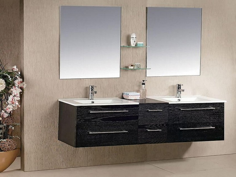 Innovative Design for Dark Bathroom Sink Cabinets with Wide Sinks and Stylish Faucets