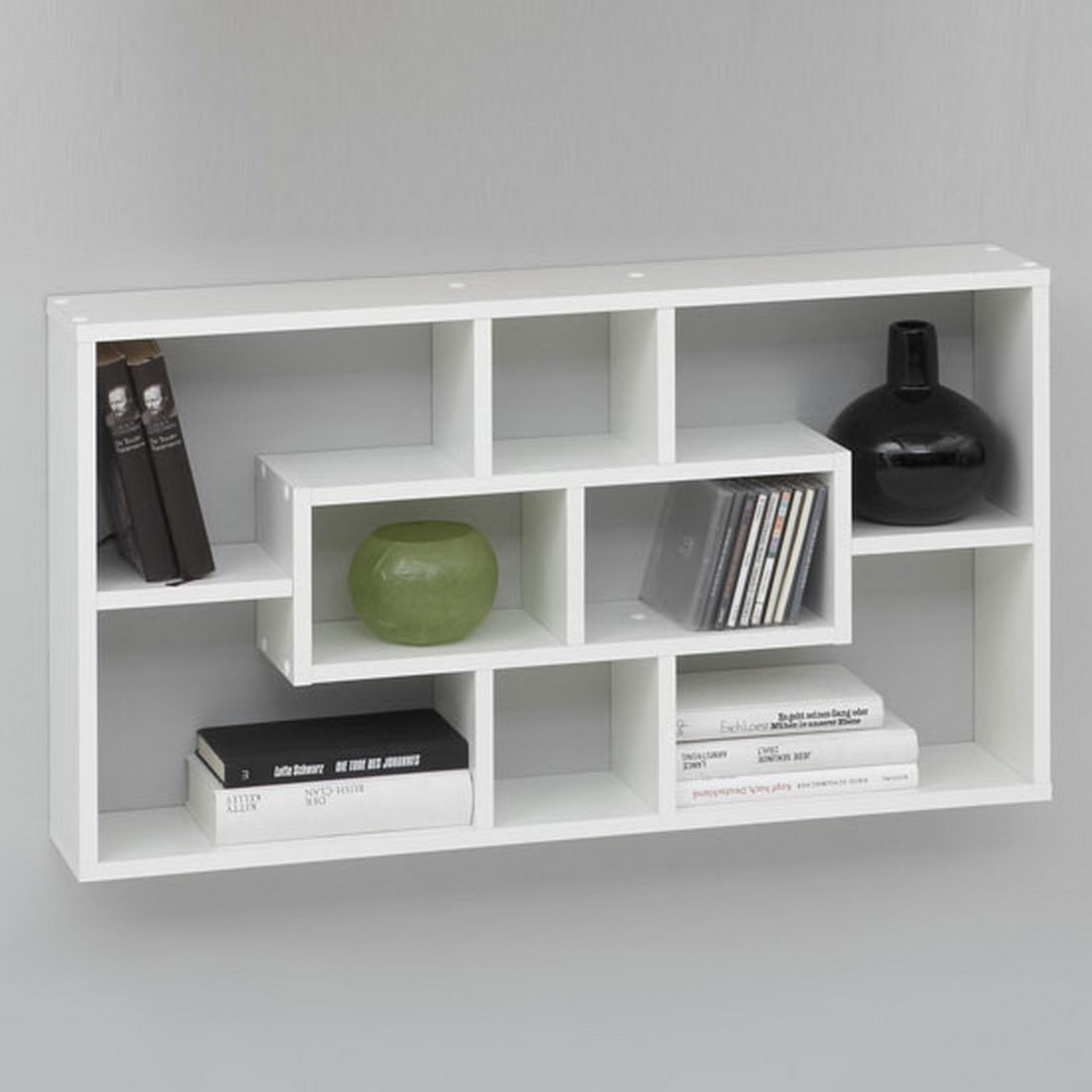 Exceptionnel Innovative Wall Mounted Bookshelves In White Color With CD Shelf On Grey  Painted Wall