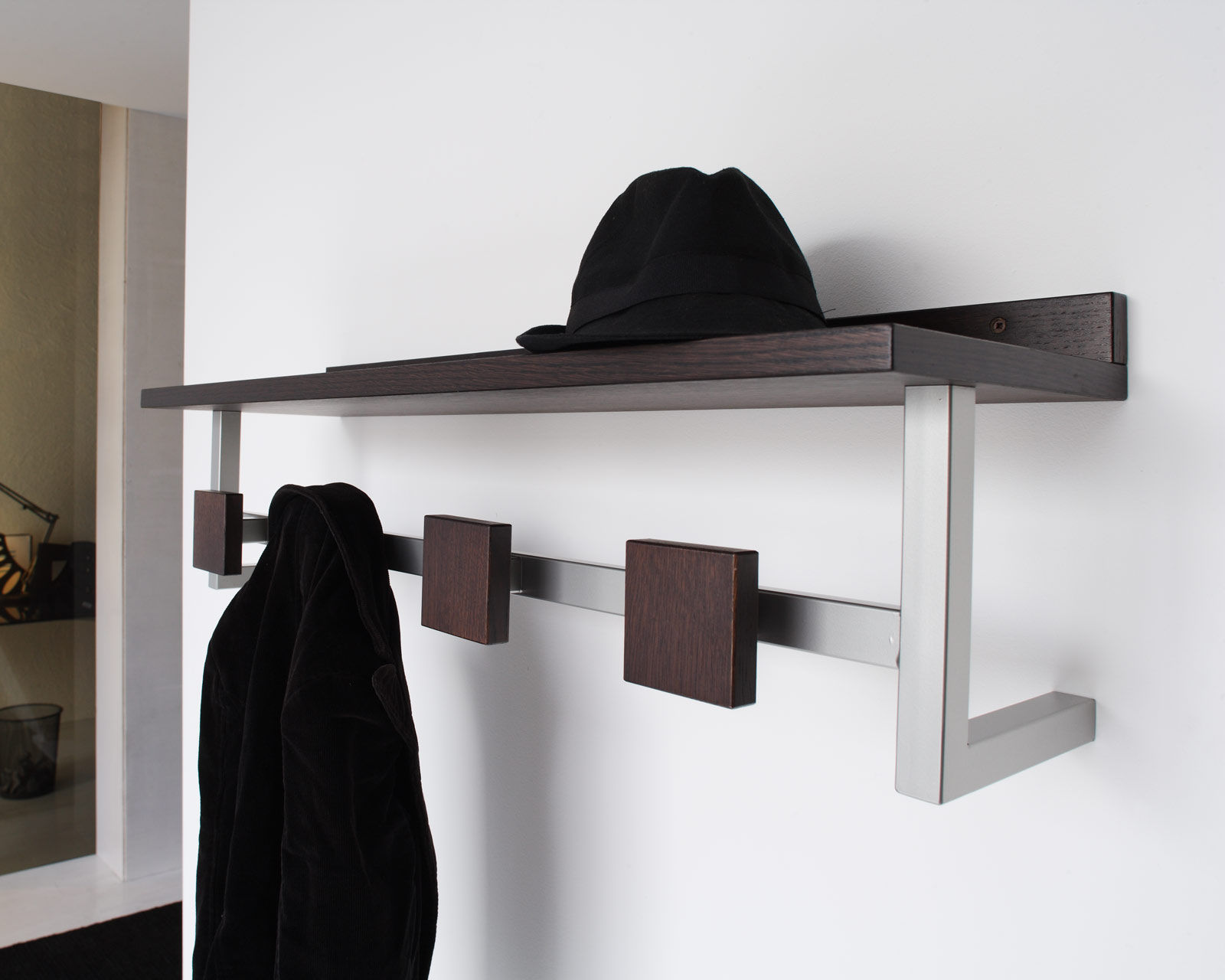 Install Awesome Decorative Wall Hooks for Coat and Hat Shelf on White Painted Wall in Entry Space