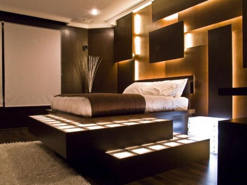 Install Awesome LED Lighting for Brown Bedroom Paint Ideas in Small Room with Stunning Bed