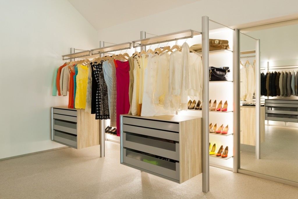 Install Bright Lamps in Awesome Open Closet Storage Ideas with Floating Dressers and Shoes Shelves