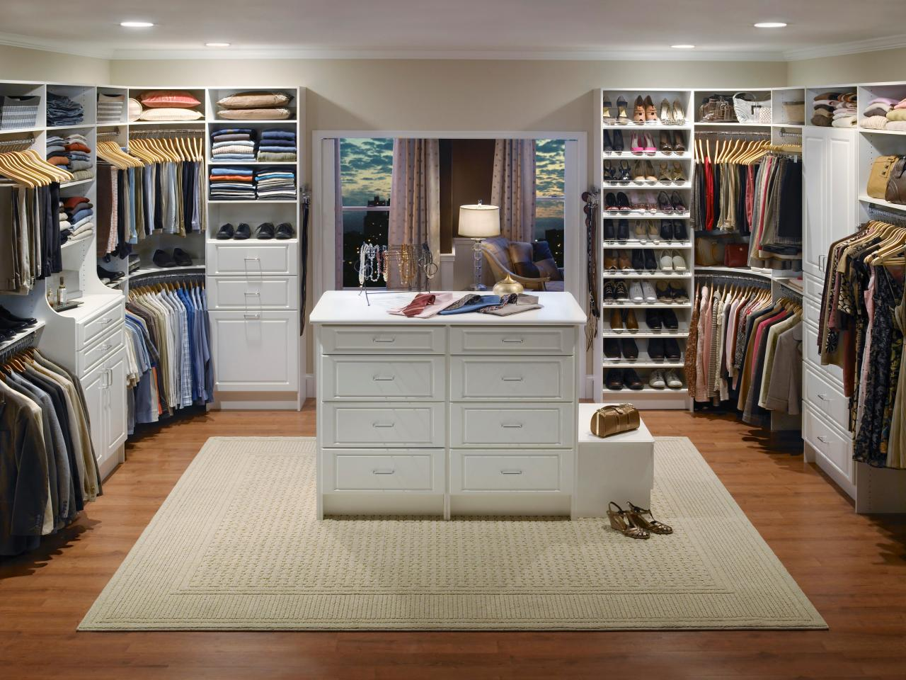 Install Bright Lighting for Wide Walk In Closet with Stunning Closet Design Ideas with using Classic White Dresser