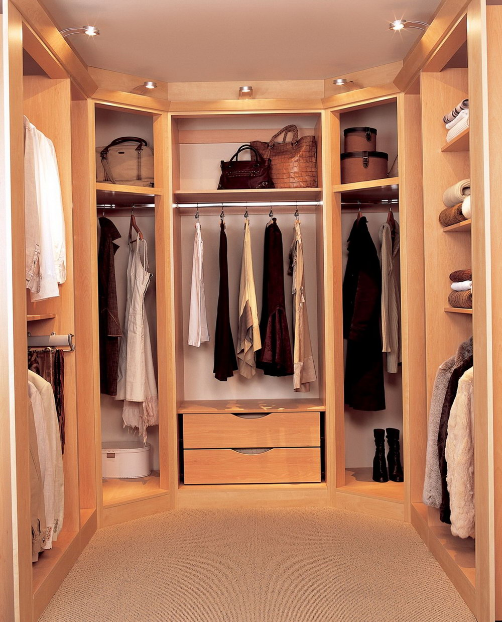 Install Bright Lighting Inside Walk In Closet Using Small Closet Ideas With  Oak Drawers And Shelves