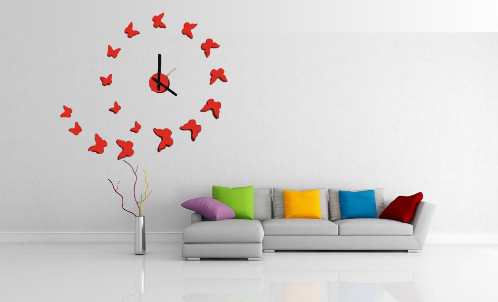 Merveilleux Install Butterly Modern Wall Clocks Inside Spacious Room With Grey  Sectional Sofa And Colorful Cushions