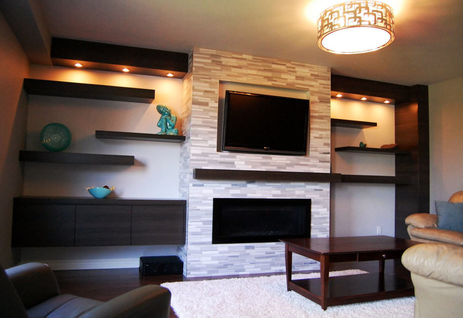 Install Ceiling Lamp for Family Room with Leather Sofas and Wooden Table near Floating Wall Shelves