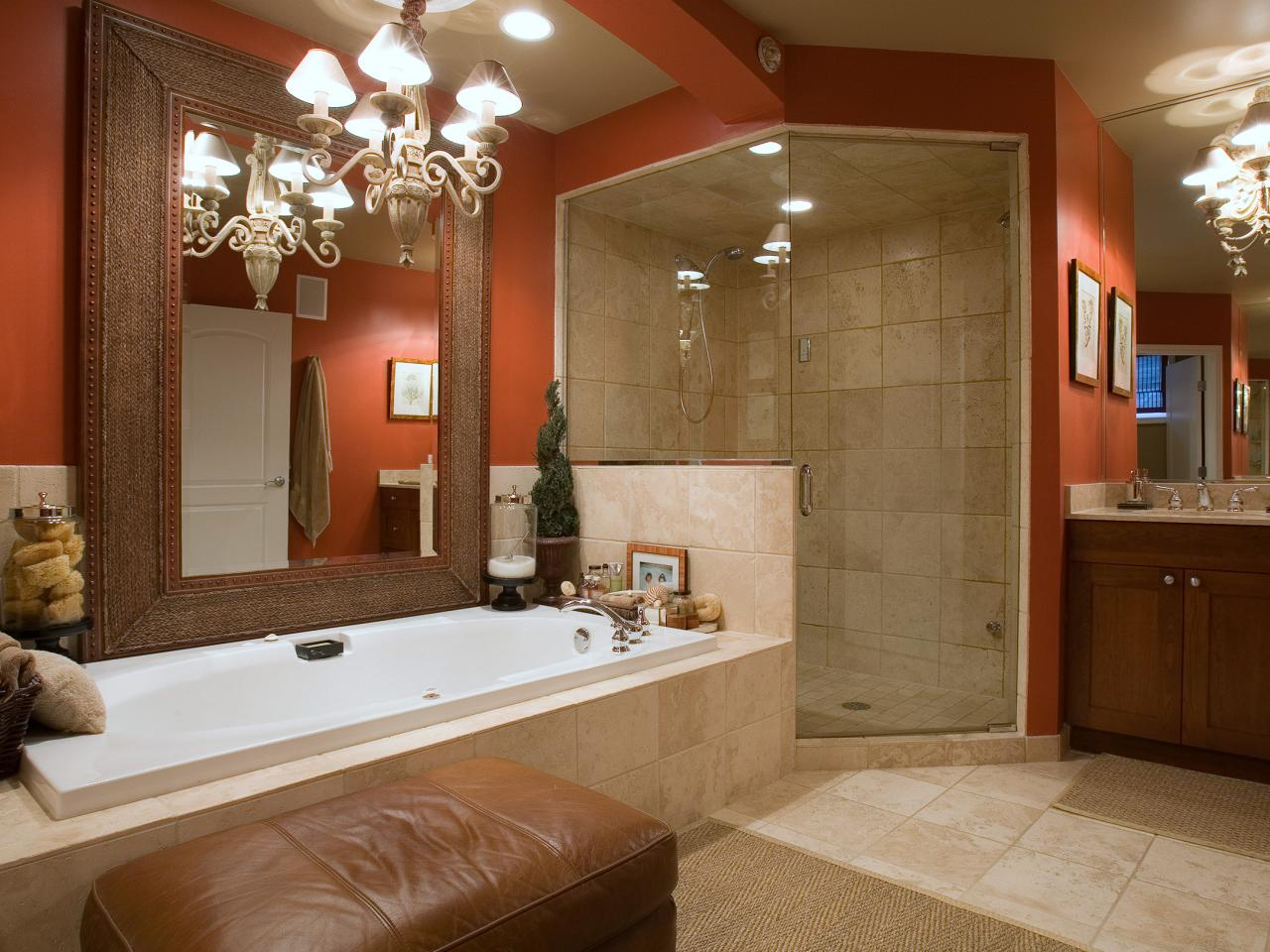 Good Colors For Bathrooms. Install Classic Chandeliers To Decorate Beige Bathroom Color Schemes Near Oak Vanity And Closed Shower Room