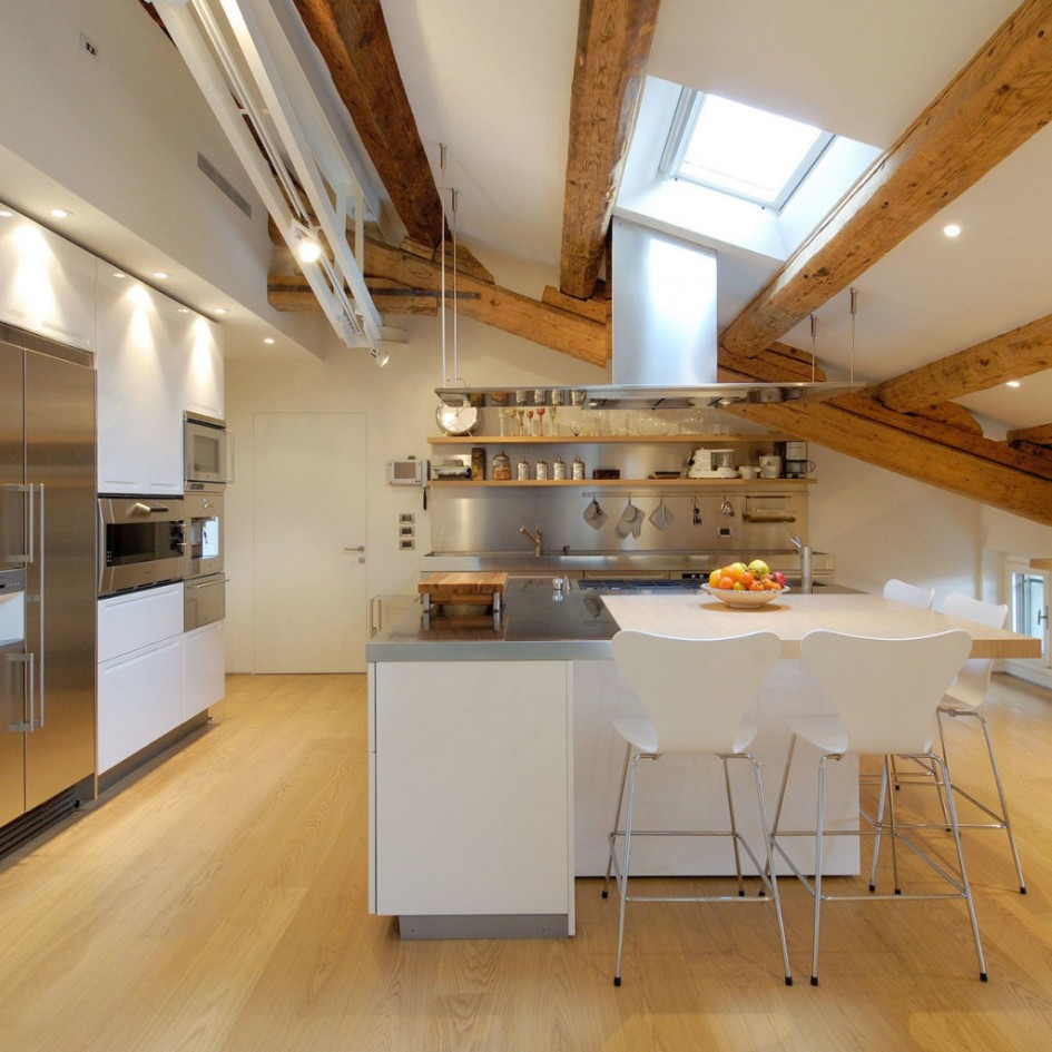 Install Clear Skylight above White Stainless Steel Kitchen Island and Simple Stools on Hardwood Flooring