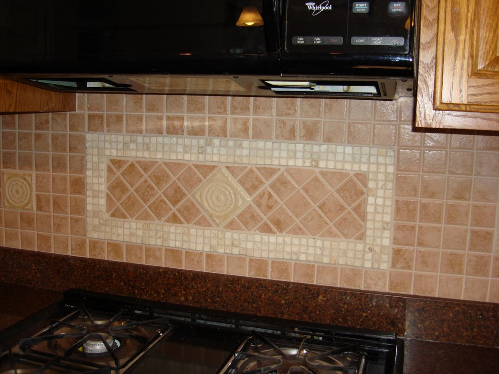 Install Gorgeous Kitchen Tile Backsplash for Enchanting Space with Long Counte and Brown Granite Countertop