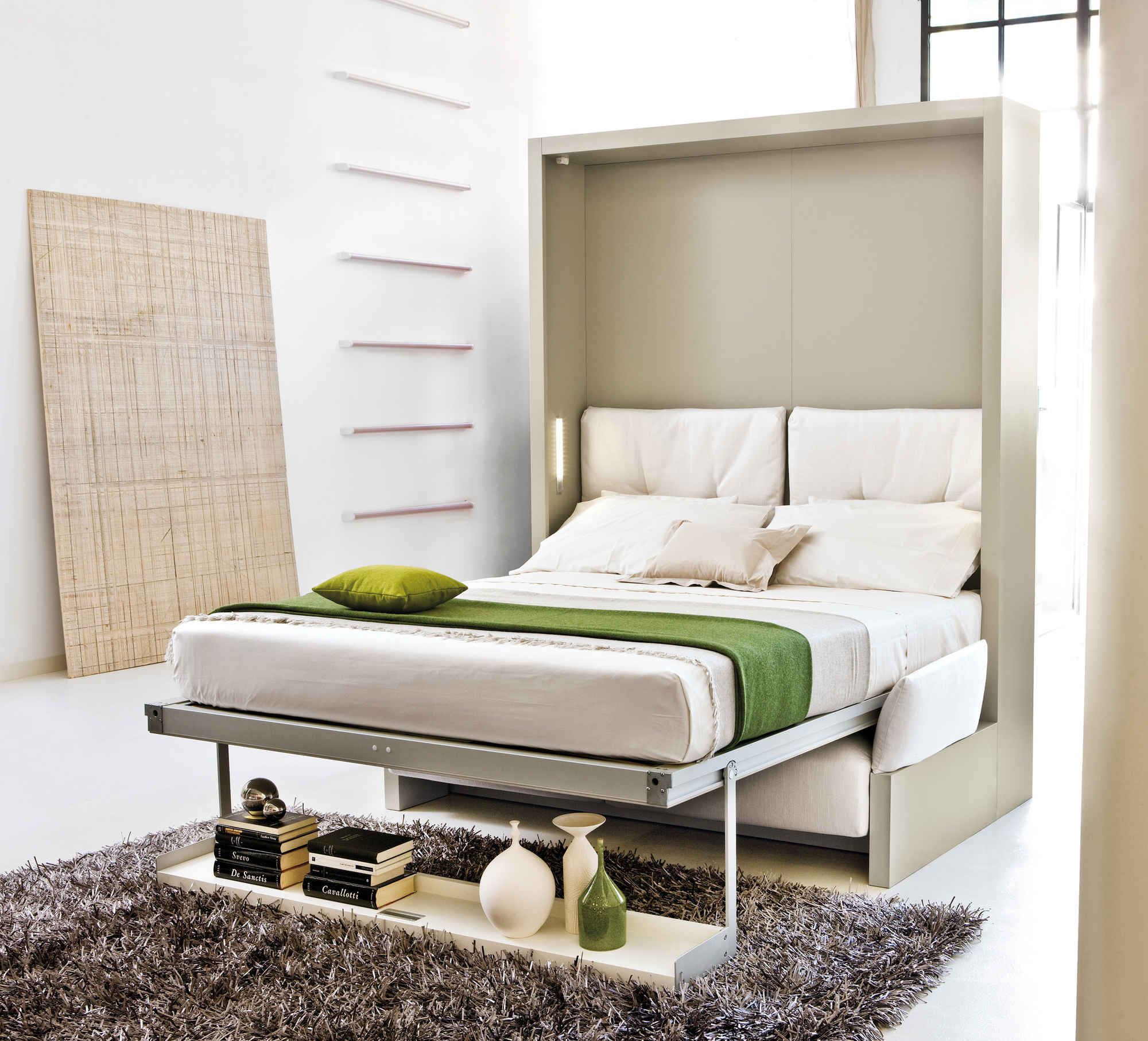 Install Reversible Bed Furniture for Small Spaces with Grey Carpet Rug on White Tile Flooring