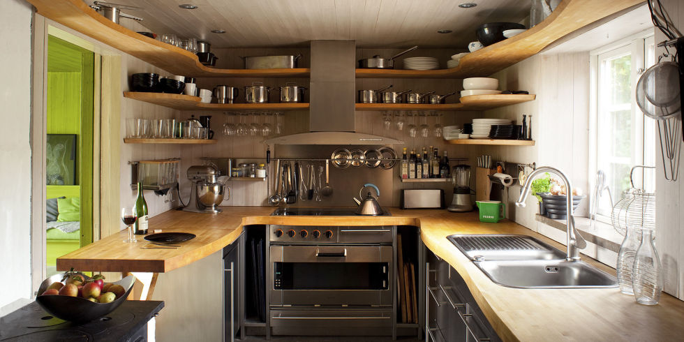 Install Tidy Floating Shelves inside Tiny Kitchen Decor Ideas with Butcher Block Countertop and Grey Cabinets
