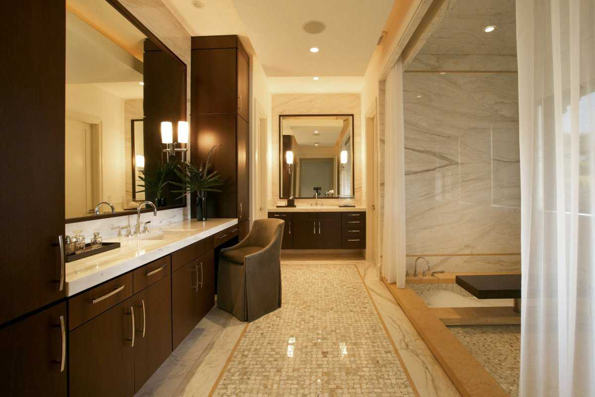 Install Wall Lamps beside Wide Wall Mirror facing Spacious Shower Room using Interesting Tile Shower Ideas