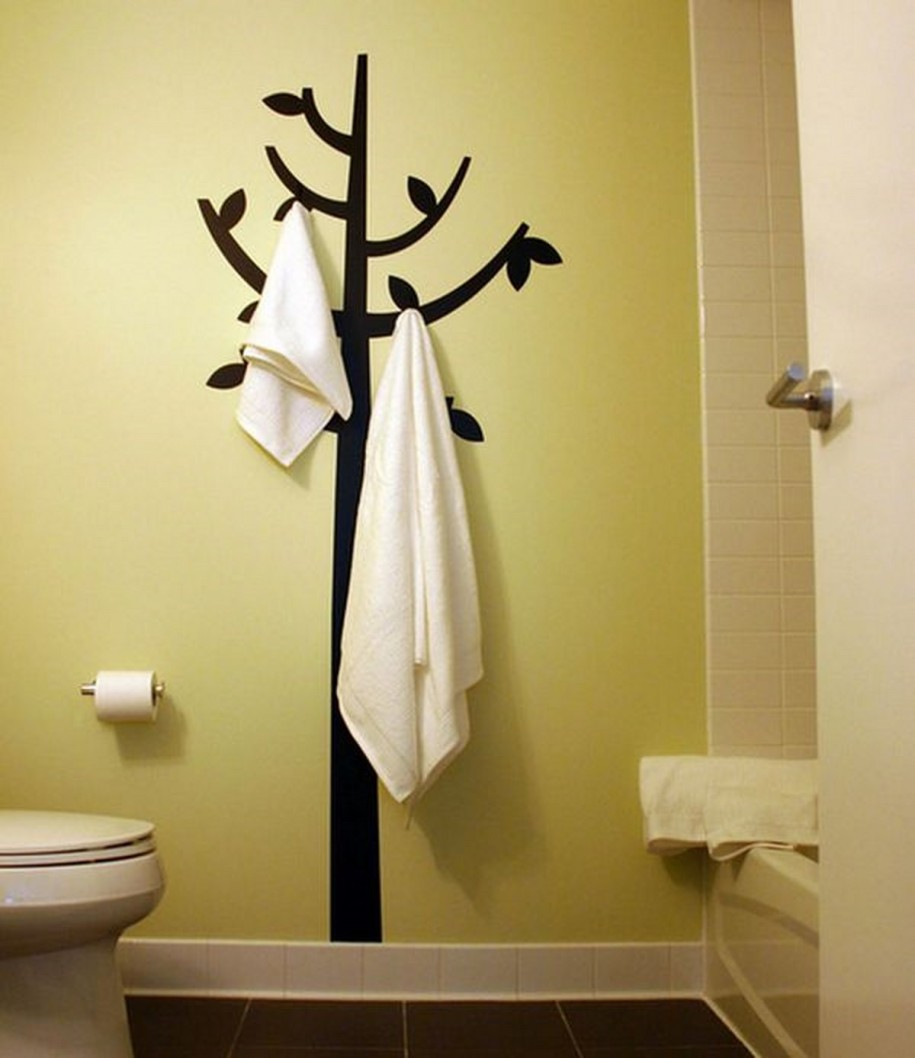 Beau Interesting Black Tree Wall Mural And Decorative Wall Hooks Completing  Stunning Bathroom With White Bathtub