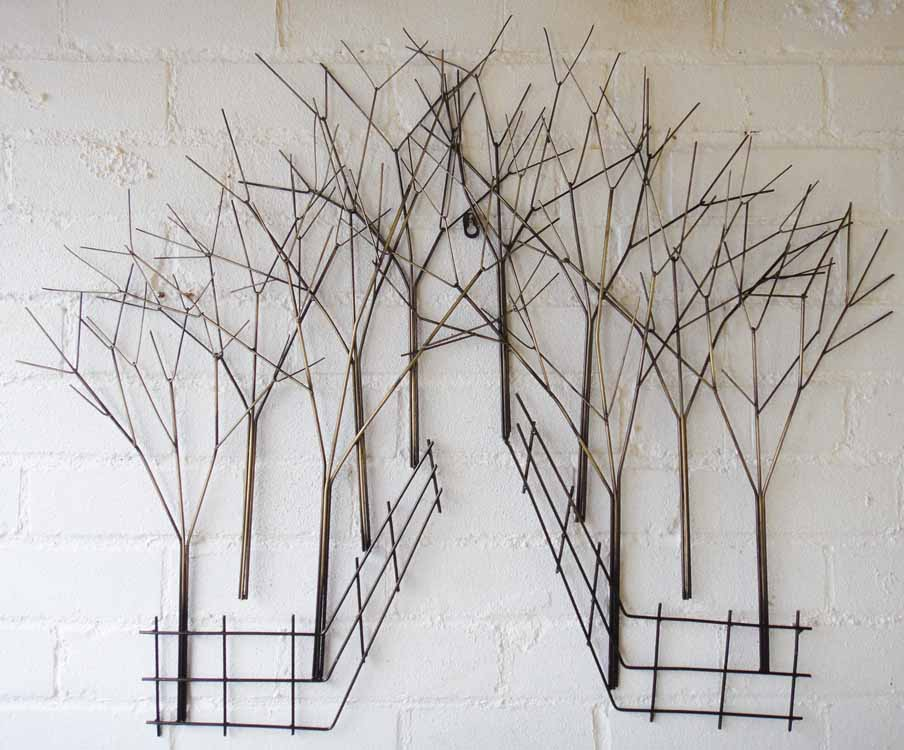 Interesting Forest Like Wall Art Ideas on Exposed White Brick Wall for Interesting Room